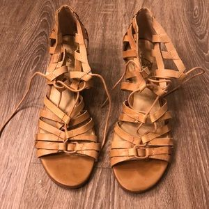 Lace up wedge sandals. Size 8.5.